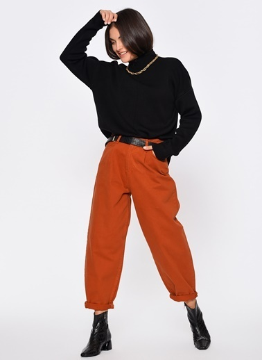 Loves You Yüksek Bel Slouchy Tek Pile Pantolon Kiremit